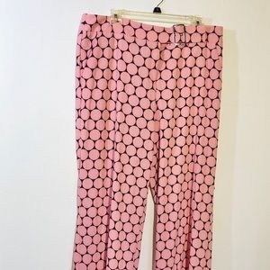 7th Avenue NY & Co Dress Pants 14 Dots Pink Brown